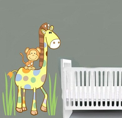 Kids vinyl wall decal Cute Giraffe and Monkey with Cocalo Jacana nursery bedding