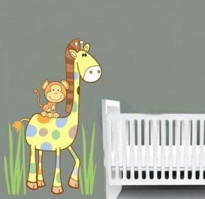 Kids vinyl wall decal Cute Giraffe and Monkey with Cocalo Jacana nursery bedding