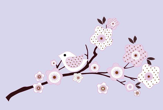 Candy tree branch vinyl wall decal in lilac with BananaFish Migi Blossom bedding