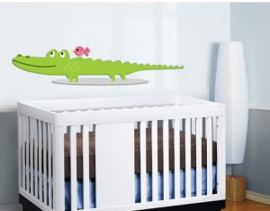 Kids vinyl wall decal Alligator and a bird OOAK