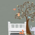 ON SALE Kids vinyl wall decal boy Tree with baby deer elephant 2 owls 2 birds