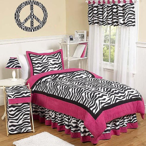 Kids Peace sign vinyl wall decal Zebra print black n white can make any color