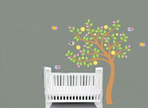 Children Kids vinyl wall decal cute Nursery Tree with birds and flowers