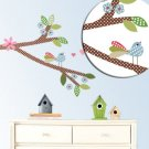 Kids tree branch vinyl wall decal with birds and flowers and hearts