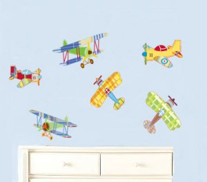 Kids childrens vinyl wall decal Vintage AirPlanes set of 6 Great for boy nursery