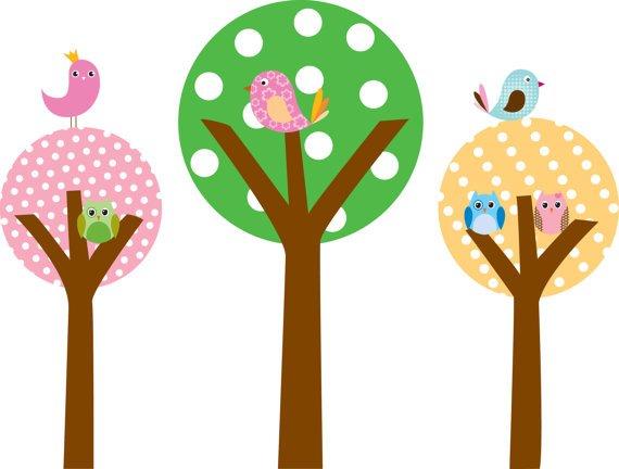 Kids Set of 3 circle round tree birds owls vinyl wall decal cute for nursery