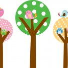Kids Set of 3 circle round tree birds owls vinyl wall decal cute for nursery