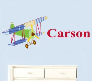 Kids childrens vinyl wall decal Vintage AirPlane swith boys name Great for nursery