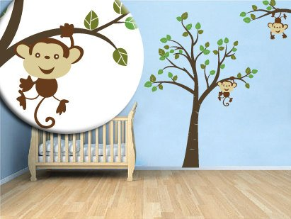 Kids vinyl wall decal Tree with a tree branch set monkey hanging from branch and from tree