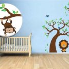 Kids vinyl wall decal Tree with a tree branch monkey hanging and lian 3 birds everything you need