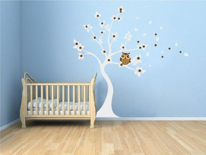 Kids tree vinyl wall decal blowing Winter white tree with owl