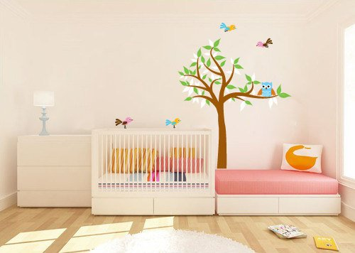 kids tree vinyl wall decal with owls birds great for nursery or kids room
