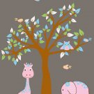 ON SALE Kids vinyl wall decal Tree with elephant giraffe owl and birds Girl safari so cute