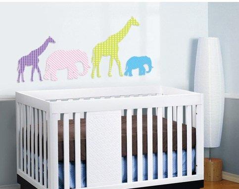 Elephant Giraffe set of 4 Kids vinyl wall decal great for nursery