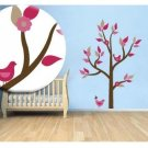 Kids tree vinyl wall decal with 2 penelope birds and leaves