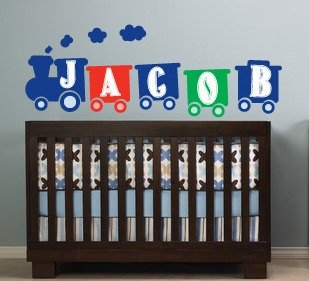 Kids initial monogram Train with childs name vinyl wall decal cute for any nursery or boys room