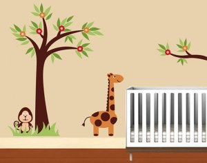ON SALE Kids vinyl wall decal Tree with a tree branch little-Garden-with-Giraffe-and-monkey grass