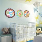 ON SALE Kids flower circle polka dots vinyl wall decal set of 3