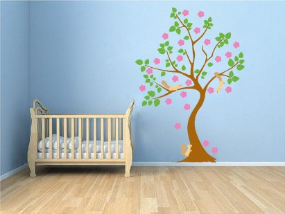 Kids tree vinyl wall decal with flowers 3 squirrels playing