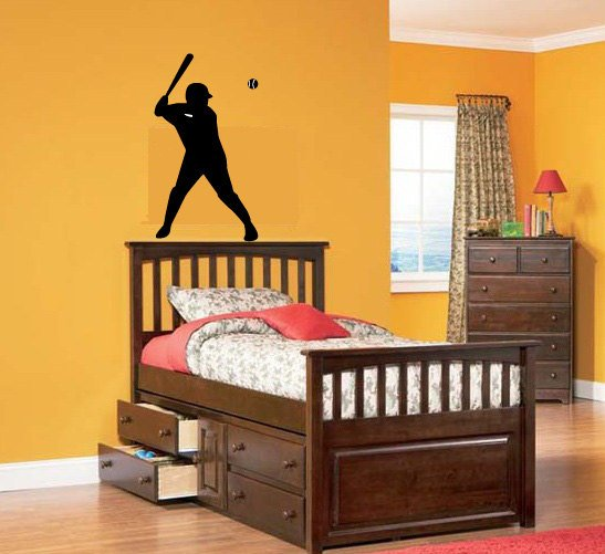 Kids vinyl wall decal baseball player we can do any color any size
