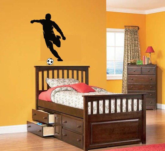 Kids vinyl wall decal soccer player we can do any color any size