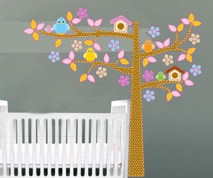 Kids tree vinyl wall decal with 5 birds 2 bird house and flowers polka dot tree trunk and leaves