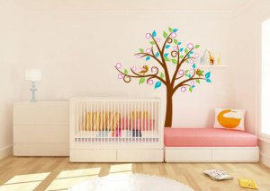 Super cute swirly tree vinyl wall decal with birds leaves and flowers