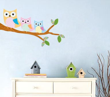 Kids tree branch vinyl wall decal with 3 owls