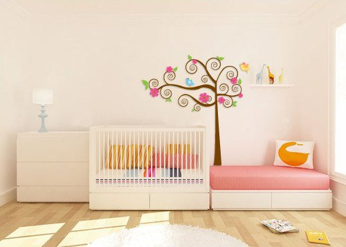 Super cute swirly tree vinyl wall decal with birds leaves and daisy flowers