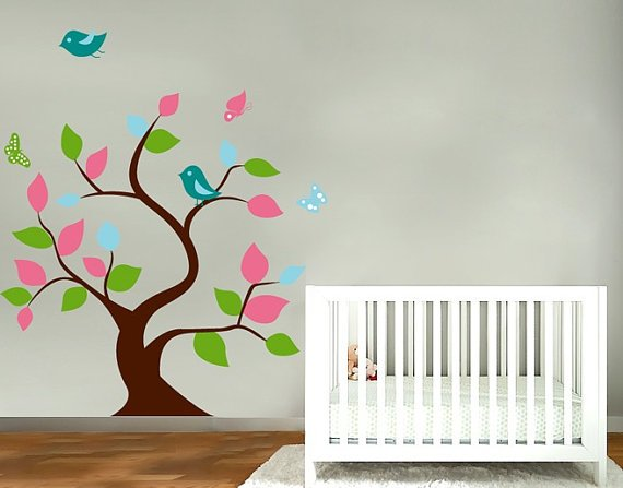 Kids fun tree vinyl wall decal with birds and butterfly's