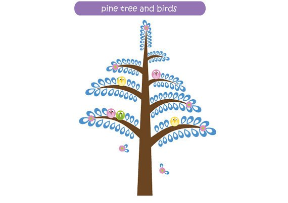 Kids pine tree vinyl wall decal with 5 birds and flowers