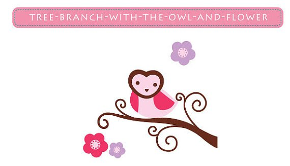 Kids tree branch vinyl wall decal heart face owl and flowers with BananaFish Woodland bedding