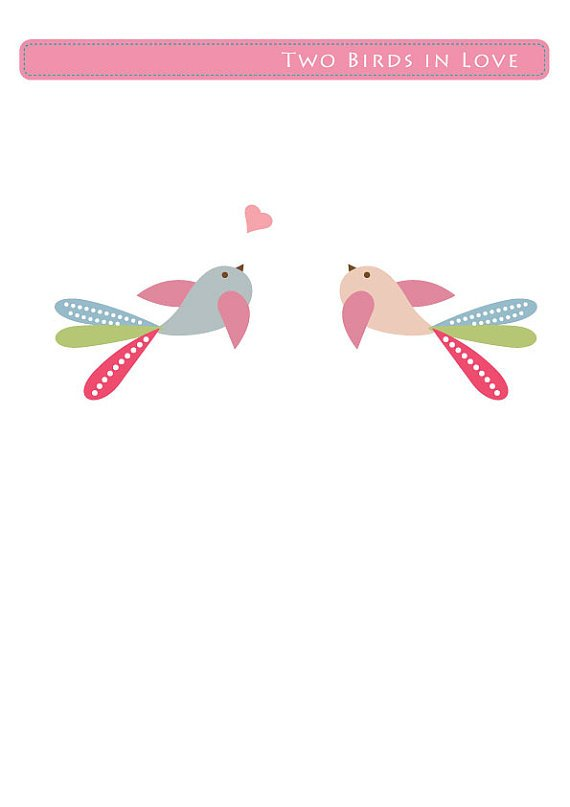 Kids vinyl wall decal Set of 2 flying birds with hearts