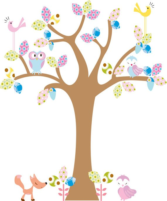 kids tree vinyl wall decal with birds owls and fox big leaves great for any nursery room