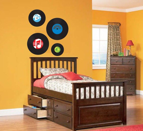 Old Records Decal set of 4 Removable vinyl wall decal can get any color and size