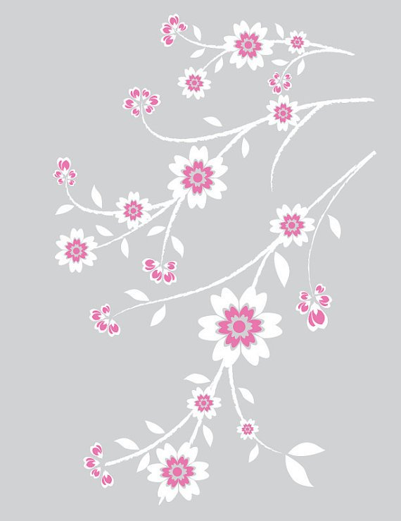 white flower Blossom tree branch vine vinyl wall decal Great for a nursery or any room