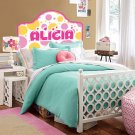 Kids Vinyl wall decal Headboard monogram initial or name hearts and polka dots