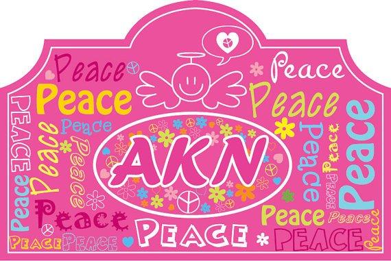 Kids Vinyl wall decal Headboard monogram initial or name peace signs flowers