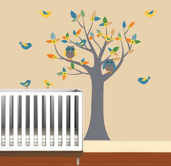 Nursery Kids tree vinyl wall decal with 2 owls flowers and 8 birds pattern leaves