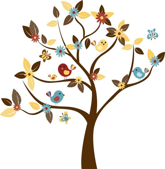 Kids tree vinyl wall decal with birds and garden daisy flowers and butterfly cute for any nursery