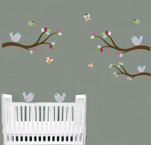 Kids tree branch set of 3 vinyl wall decal with 5 birds and butterflies Cute for nursery kids room