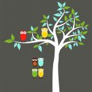 Kids Tree with 2 owls and set of 4 FREE owls use for tree, branch or along a crib/bed wall decal