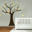 Kids big tree with owls and birds big pattern leaves cute nursery vinyl wall decal