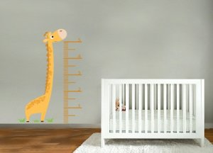 kids vinyl wall decal giraffe height growth Chart great for nursery or kids room
