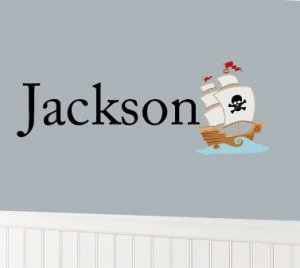 Kids initial monogram name with pirate ship boat boys vinyl wall decal