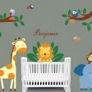 Kids removable vinyl wall decal Elephant Giraffe Monkey Lion Birds w/tree branches for nursery room