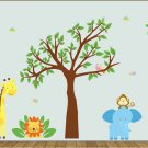 cute nursery wall art decal for children Tree and tree branch birds elephant lion giraffe monkey