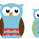 Kids set of 2 owls 2 baby owls vinyl wall decal cute for a nursery or childs room