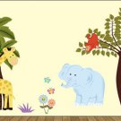 Palm tree w/giraffe kids tree w/monkey over branch and Elephant, flowers butterfly vinyl wall decal