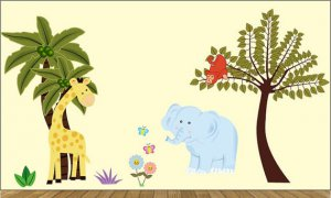 Palm tree w/giraffe kids tree w/monkey over branch and Elephant, flowers butterfly vinyl wall decal
